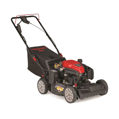 TROY-BILT<sup>&reg;</sup> 21&quot; TriAction<sup>&reg;</sup>  Cutting System Self-Propelled Mower with Electric Start - This walk-behind mower features an easy-start push button electric engine, Check/Don't Check oil system that eliminates oil changes and the TriAction<sup>&reg;</sup> cutting system.  This system is designed with a rake bumper to lift grass upright, a specially designed blade for finer mulch and a symmetrical deck for superior grass flow and to eliminate clumping.