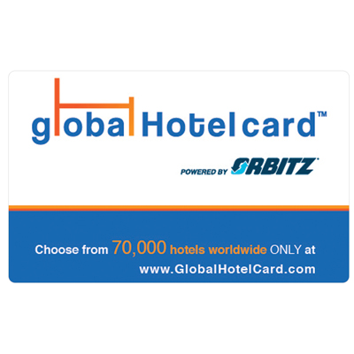 ORBITZ GLOBAL HOTEL CARD<sup>&reg;</sup> $25 Gift Card - With over 70,000 hotel options worldwide, you can easily search for and book the right hotel for by price, location, star rating and other criteria at www.GlobalHotelCard.com.
