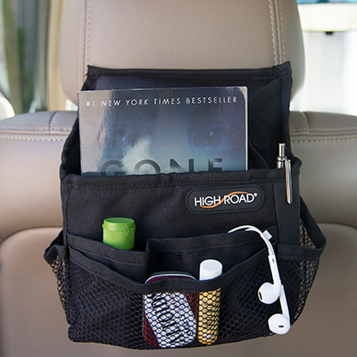 "HIGH ROAD<sup>&reg;</sup> SwingAway™ Compact Driver Organizer - This compact organizer has adjustable webbed straps which buckle around the headrest, convenient side handles to easily swing the organizer to the opposite side of the seat and is made from heavy-duty, polyester pack cloth. Features 7 protective pockets to hold your tablet, phone, snacks and more.  Organizer measures 7.5"" x 9"" x 4""."